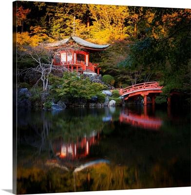 Japan, Kansai, Kyoto, Daigo Ji Temple In Eastern Kyoto At Sunset