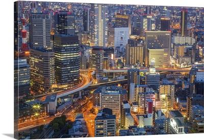 Japan, Kansai, Osaka, View from Floating Garden Observatory, Umeda Sky Building