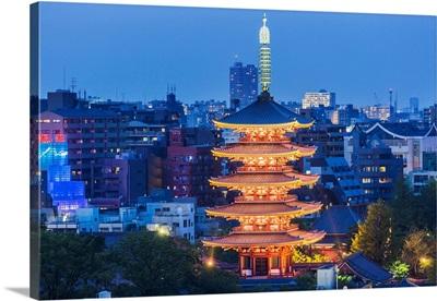 Japan, Tokyo, Asakusa, Asakusa, The Senso-Ji (Senso Temple), The Five-Storey Pagoda
