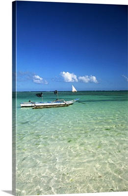 Kenya, Diani beach near Mombasa, typical boat