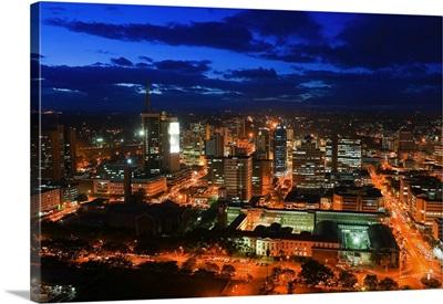 Kenya, Nairobi Area, Nairobi, City skyline at dusk