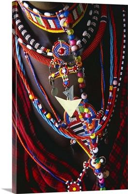 Kenya, Rift Valley, Masai woman, necklaces