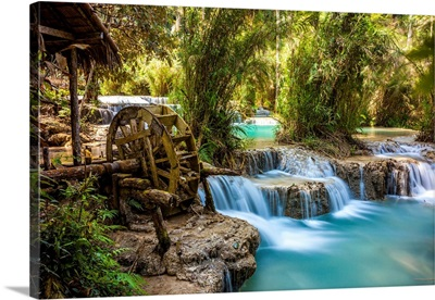 Laos, North Region, Louangphrabang, Turquoise Water Of The Kuang Si Waterfall, Old Mill