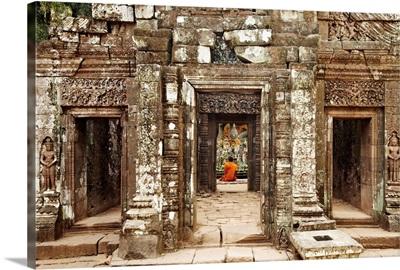Laos, Pakse, Monk at Wat Phu temple