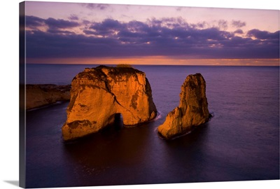 Lebanon, Beirut, Middle East, Beirut, Rouche or Pigeon Rocks at the sunset