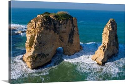 Lebanon, Beirut, Middle East, Mediterranean sea, Beirut, Rouche or Pigeon Rocks