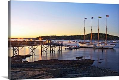 Maine, Mount Desert Island, The four-masted schooner Margaret Todd at dusk