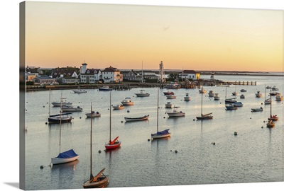 Massachusetts, Nantucket, Harbor at sunset