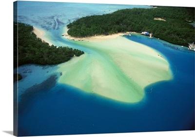 Mauritius, East Coast near Ile aux Cerfs, aerial view