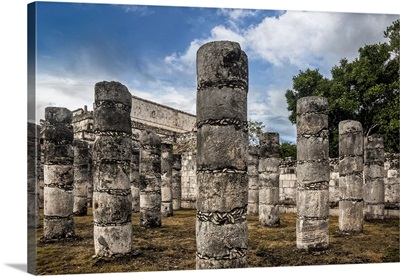 Mexico, Yucatan, Chichen Itza, Columns at the Temple of a Thousand Warriors