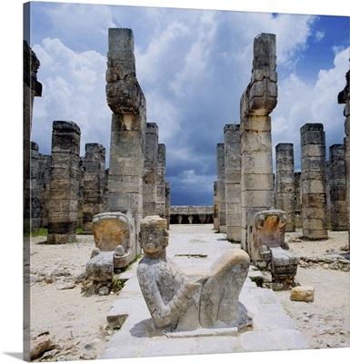 Mexico, Yucatan, Chichen Itza, Temple of the Warriors, statue of Chac Mool