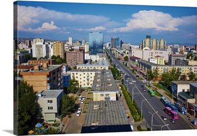 Mongolia, Central Mongolia, Ulaanbaatar, Peace avenue, cityscape