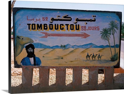 Morocco, Dra Valley, road sign to Timbouctou