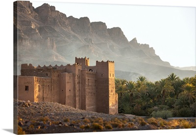 Morocco, Draa river valley, Kasbah and mountains of Draa river valley