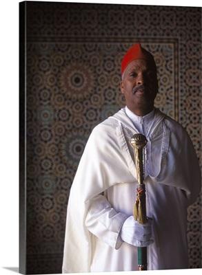 Morocco, Fez, Palais Jamai Hotel, hall porter wearing traditional clothing