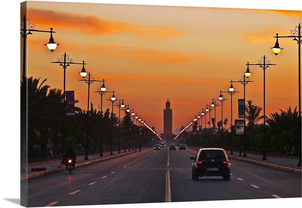 Morocco Marrakech Avenue From Jardin De La Menara To Mosque Of