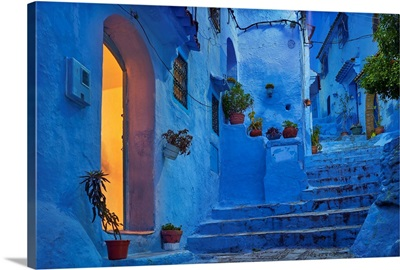 Morocco, Rif Mountains, Chefchaouen, Dusk In The Old Town