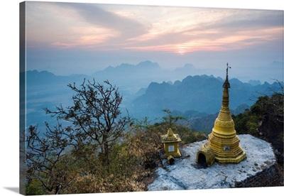 Myanmar, Kayin, Pa-An, View From Mount Zwegabin Monastery At Sunrise, Hpa An