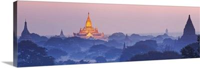 Myanmar, Mandalay, Bagan, Sunrise over the plain of Bagan