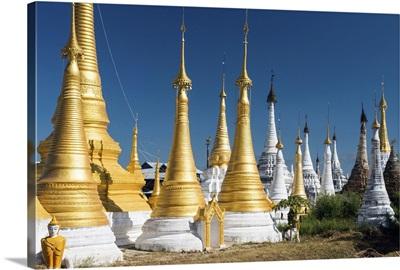 Myanmar, Shan, Nyaungshwe, Pagodas at Inthein on Inle Lake