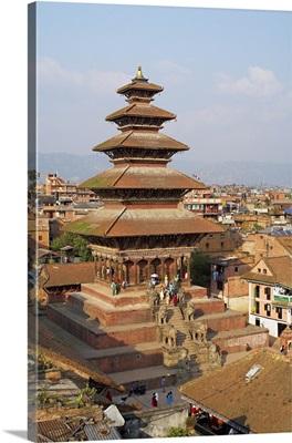 Nepal, Central, Bhaktapur, Bhadgaon, Newar city of Bhaktapur, Nyatapola temple