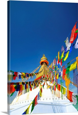 Nepal, Central, Kathmandu, Bodhnath Stupa, Prayer flags at Bodnath Stupa