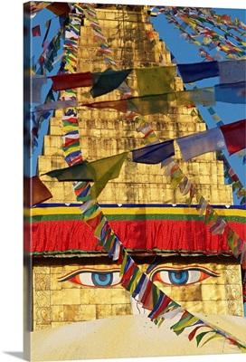 Nepal, Central, Kathmandu, Buddhist stupa of Bodnath, Prayer flag