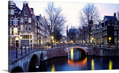 Netherlands, Amsterdam, Typical view of the Singel channel