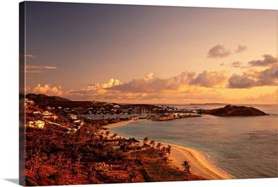 Netherlands Antilles, Caribbean, Saint Martin, View towards Dawn Beach and Oyster Pond
