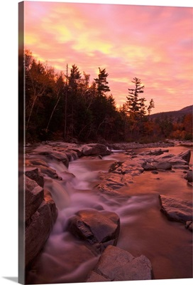 New Hampshire, White Mountains, Lower Falls, The Swift river at dawn