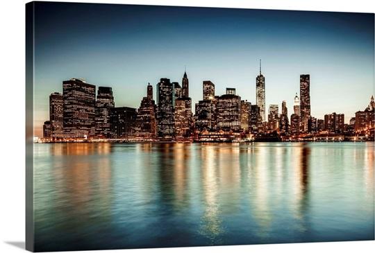 New York City, Brooklyn, City skyline Wall Art, Canvas Prints ...