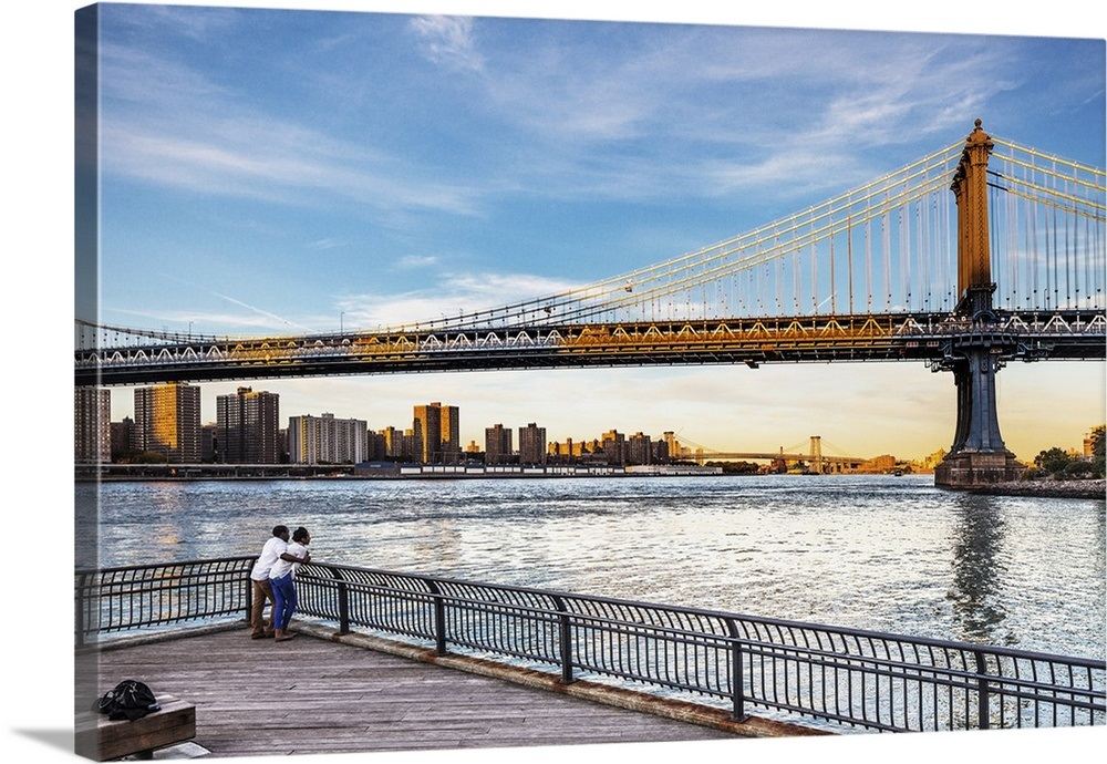 New York City Manhattan Bridge Couple Looking At The Bridge At