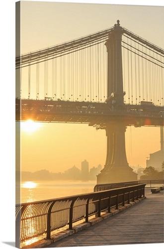 New York City, Manhattan, Manhattan Bridge, Sunrise Wall Art, Canvas ...