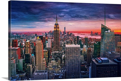 New York City, Manhattan, Midtown, Evening cityscape from Top of the Rock