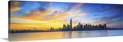 New York City, Manhattan, One World Trade Center, Freedom Tower, City skyline at sunrise