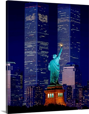 New York City, Statue of Liberty and World Trade Center at night