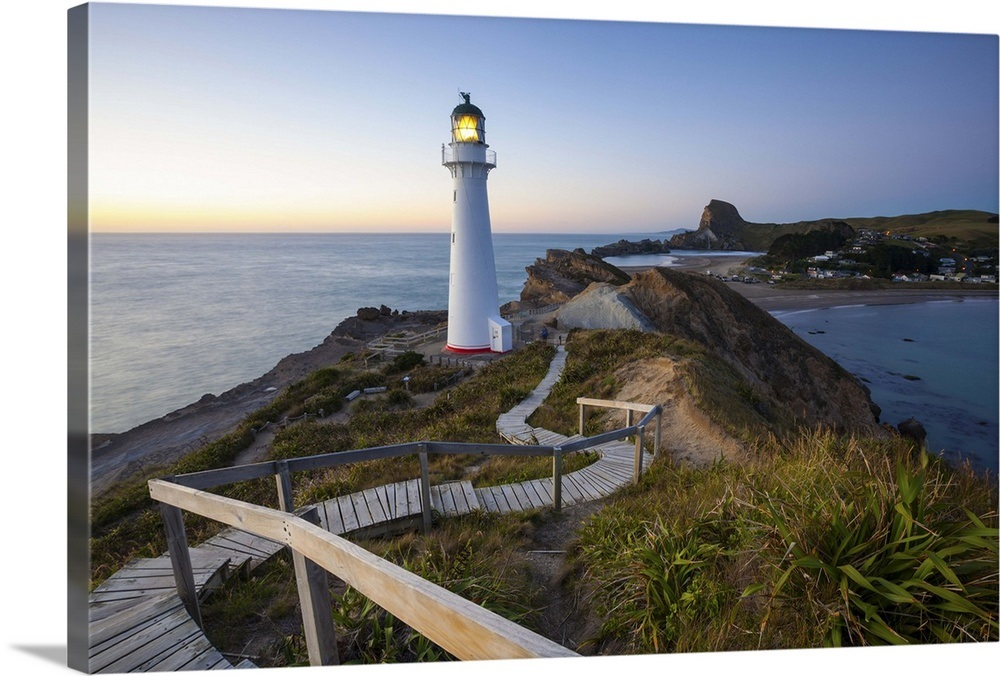 New Zealand North Island Wellington Castlepoint Lighthouse At Dawn Wairarapa