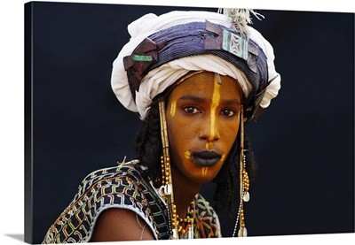 A Wodaabe-Bororo boy, painted for the annual Gerewol male beauty contest