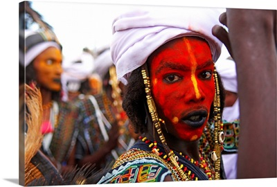 Niger, Wodaabe-Bororo man, face painted for the annual Gerewol male beauty contest
