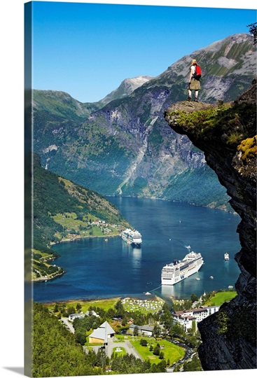 Norway Geiranger Hiker At Flydalsjuvet Rock And Cruise