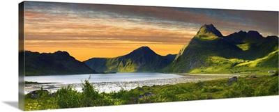 Norway, Lofoten Islands, Flakstadoy, sunset on the Fjord in Flakstad