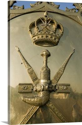 Oman, Masqat, Royal palace, The coat of arms of the royal family at the entrance