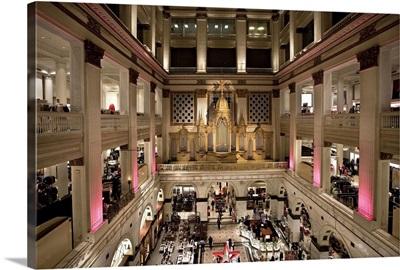 Pennsylvania, Philadelphia, Wanamaker Organ at Macy's on Market Street by the City Hall