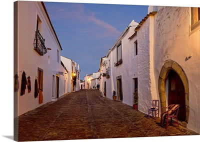 Portugal, Evora, Alentejo, Monsaraz, Cobbled village streets at dusk