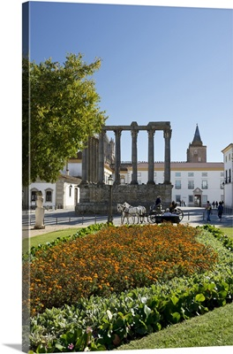Portugal, Evora, Roman Diana temple and gardens with cathedral tower