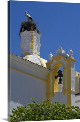 Portugal, Faro, a stork's nest on the Capela de Santo Amaro church in Faro