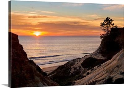 Portugal, Faro, Albufeira, Algarve, Praia Da Falesia Beach At Sunset