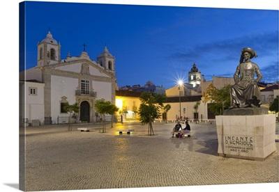 Portugal, Faro, Algarve, Lagos, Santa Maria Church at night