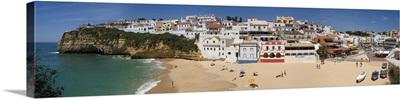 Portugal, Faro, Algarve, Praia do Carvoeiro village and beach