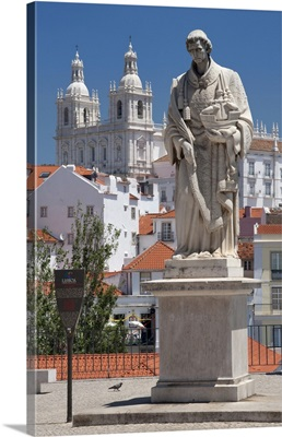 Portugal, Lisbon, Alfama, statue to Sao Vicente and the church of Sao Vicente de Fora